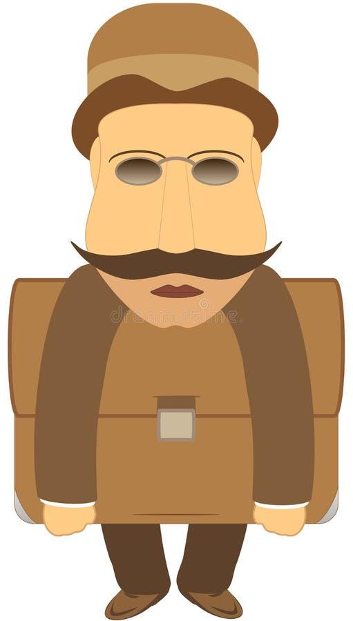 Homme de moustache avec le portefeuille illustration libre de droits