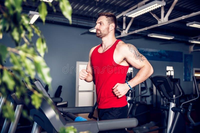 Homme de muscle courant sur le tapis roulant image stock