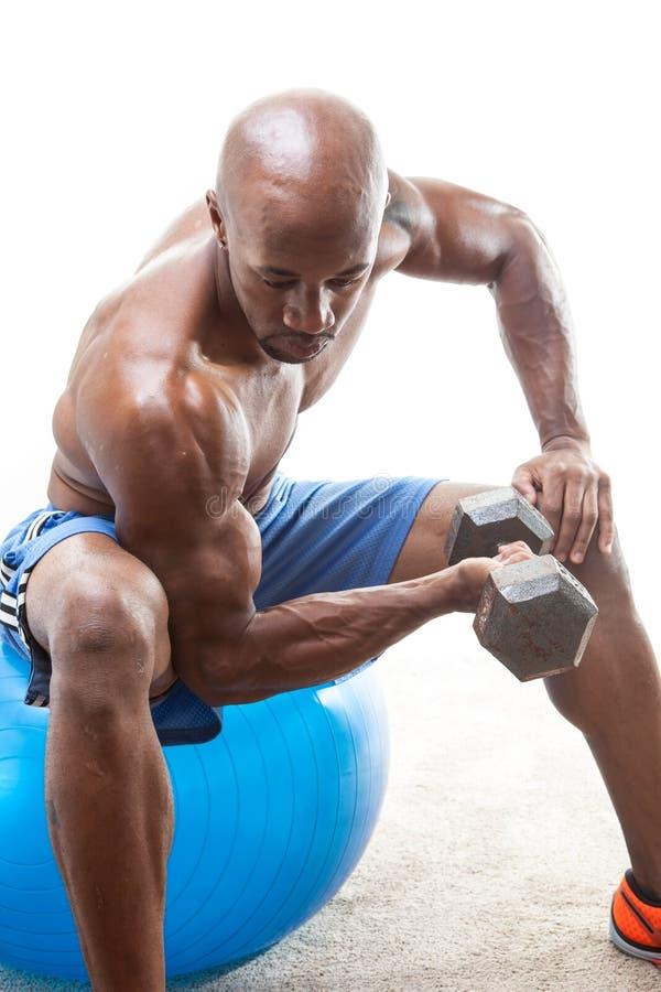 Homme de muscle faisant des boucles photo libre de droits