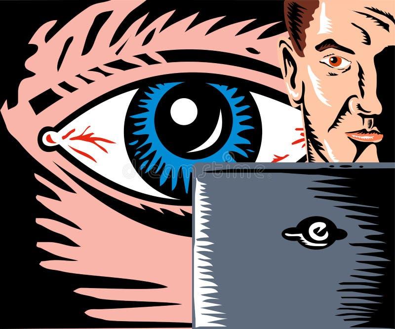 Homme de observation d'oeil avec l'ordinateur illustration libre de droits