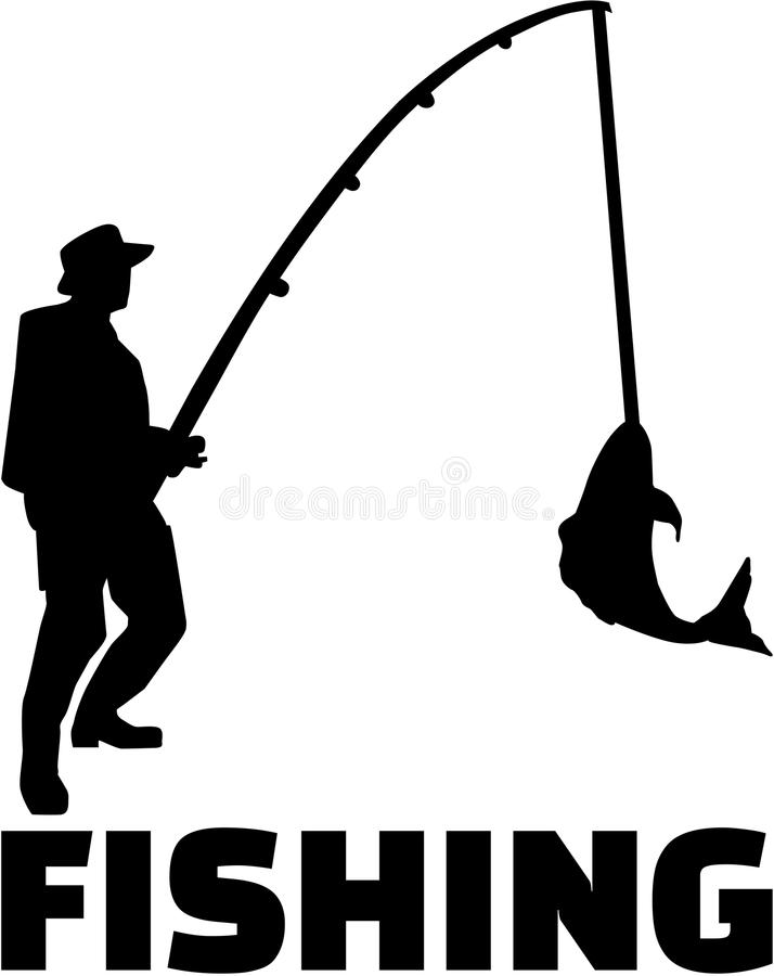 Homme de pêche avec la tige illustration libre de droits