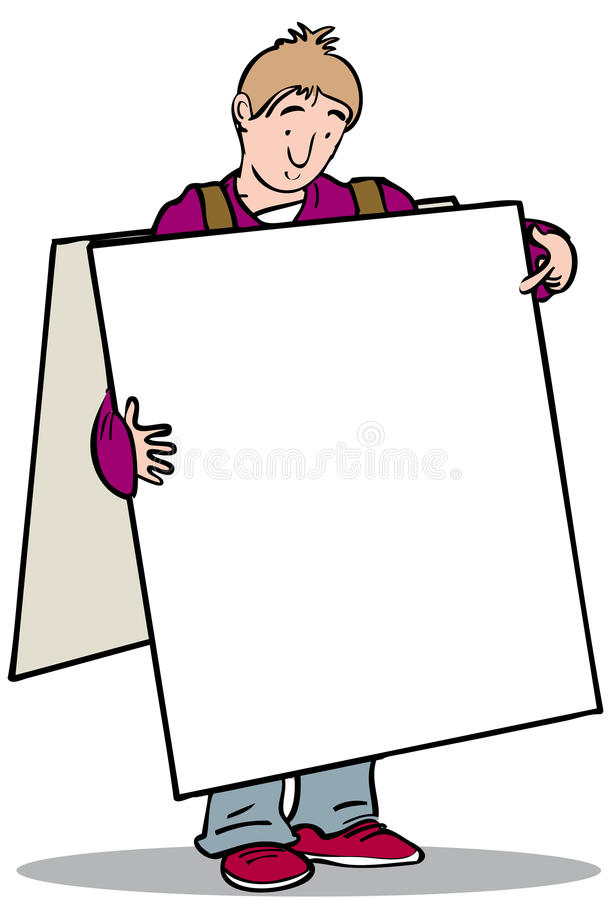Homme de panneau publicitaire porté par un homme-sandwich illustration de vecteur