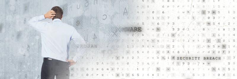 Homme de pensée avec la transition de sécurité de virus de code photographie stock