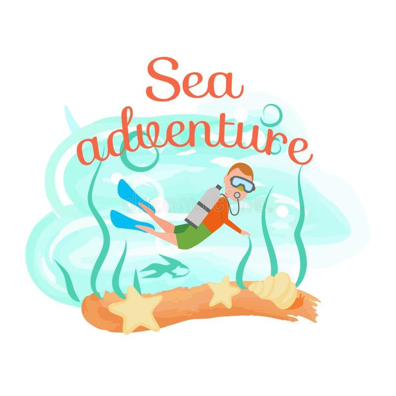 Homme de plongée d'aventure de mer dans l'équipement naviguant au schnorchel illustration libre de droits