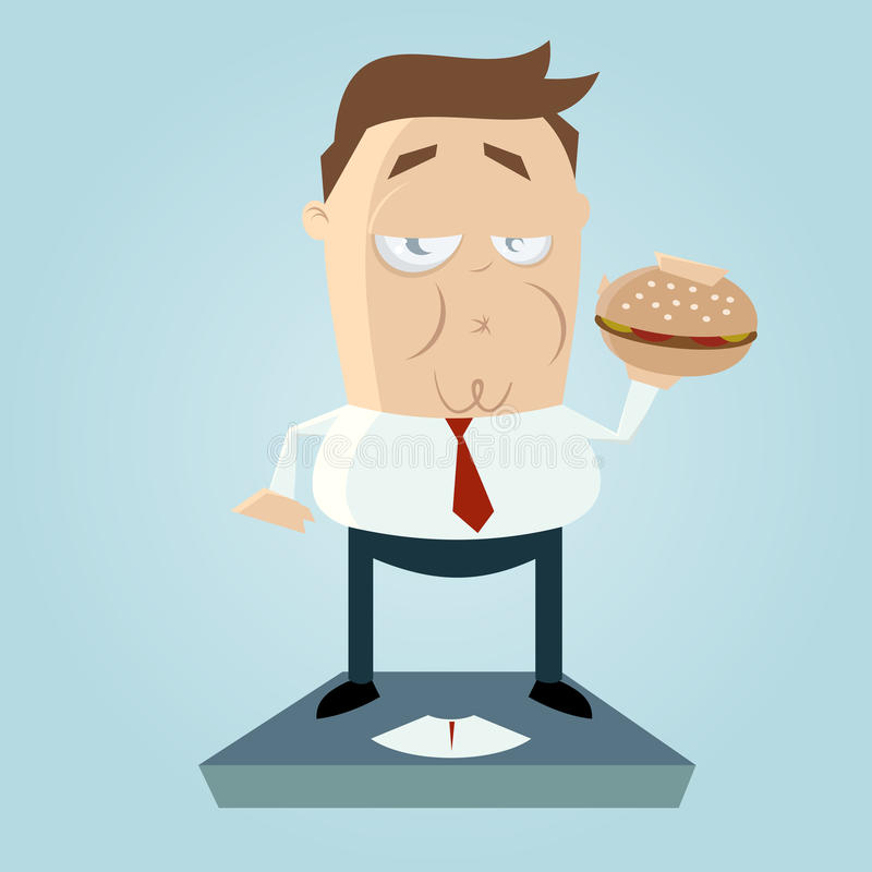 Homme de poids excessif de bande dessinée avec l'hamburger illustration libre de droits