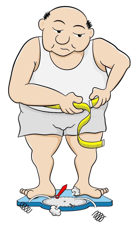 Homme de poids excessif mesurant sa circonférence de taille illustration de vecteur