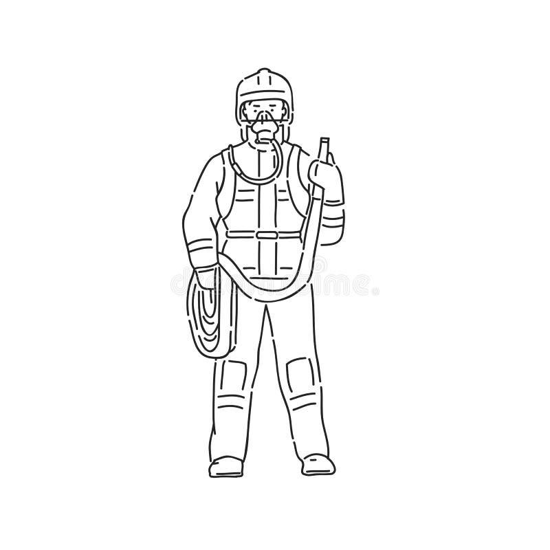 Homme de pompier dans la tenue de protection professionnelle Illustration d'isolement blanche de noir de vecteur de caractère de illustration libre de droits