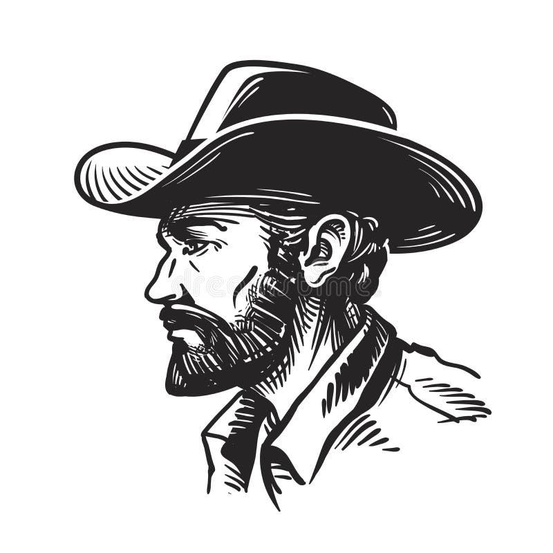 Homme de portrait dans le chapeau de cowboy Illustration de vecteur de croquis illustration libre de droits