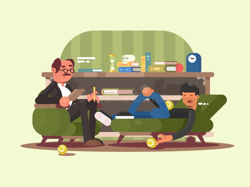 Homme de psychologue dans le bureau illustration de vecteur