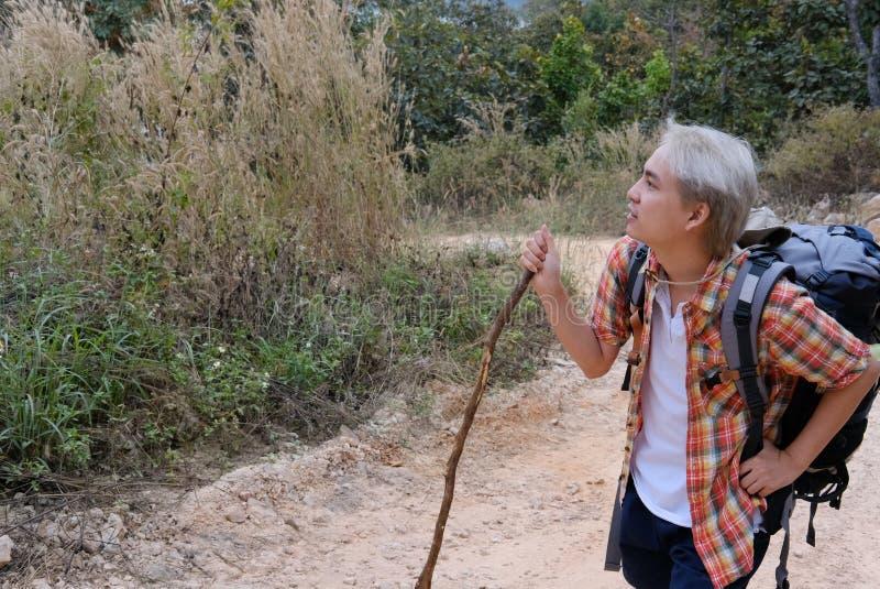 homme de randonneur de voyageur avec le sac à dos augmentant sur la montagne CCB de touriste photos libres de droits
