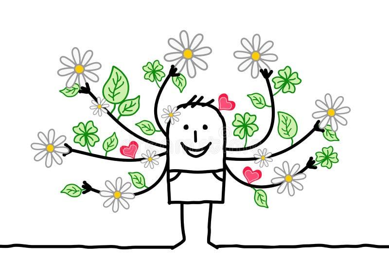 Homme de ressort de bande dessinée avec les bras fleurissants illustration libre de droits
