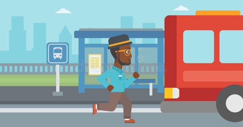 Homme de retardataire courant pour l'autobus illustration stock