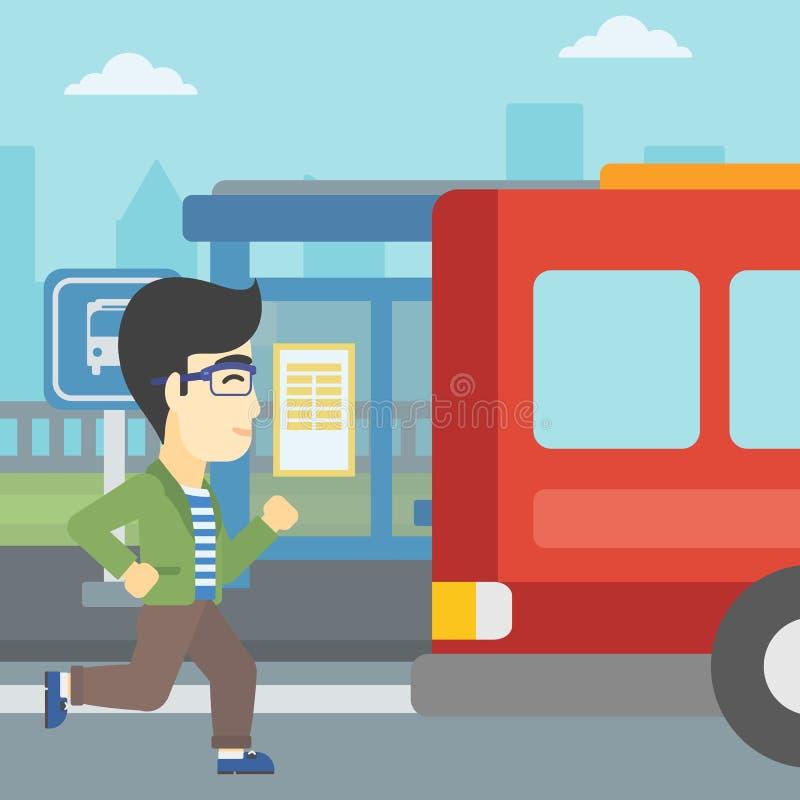 Homme de retardataire courant pour l'autobus illustration libre de droits
