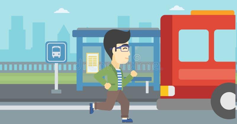 Homme de retardataire courant pour l'autobus illustration de vecteur