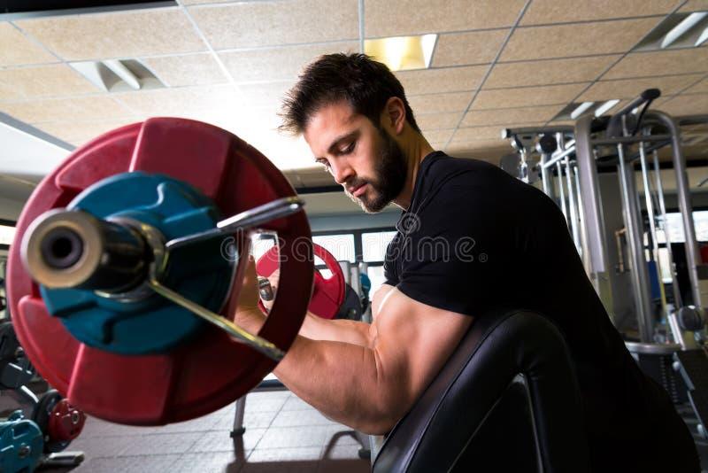 Homme de séance d'entraînement de boucle de bras de banc de prédicateur de biceps au gymnase photos stock