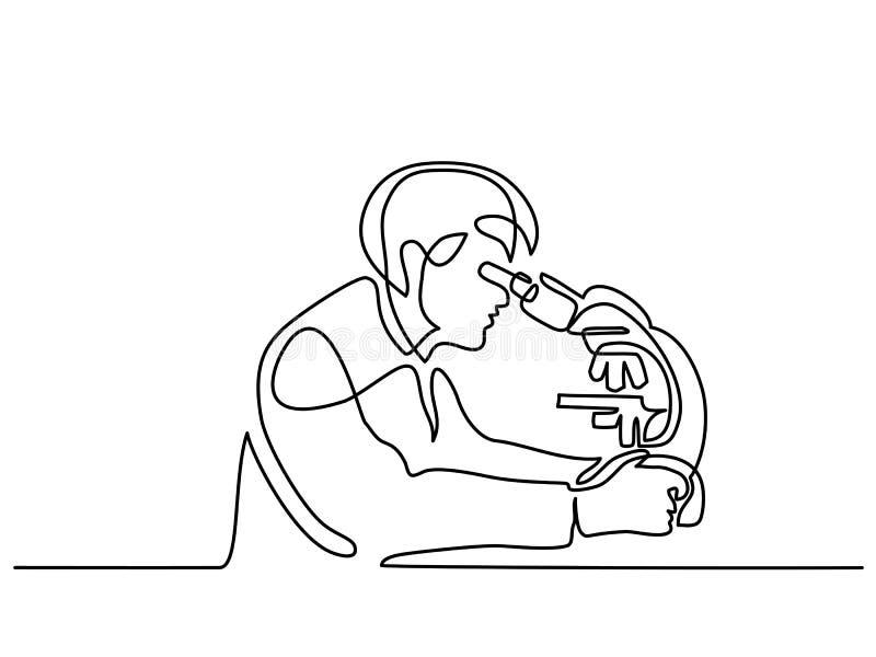 Homme de scientifique regardant par le microscope illustration libre de droits