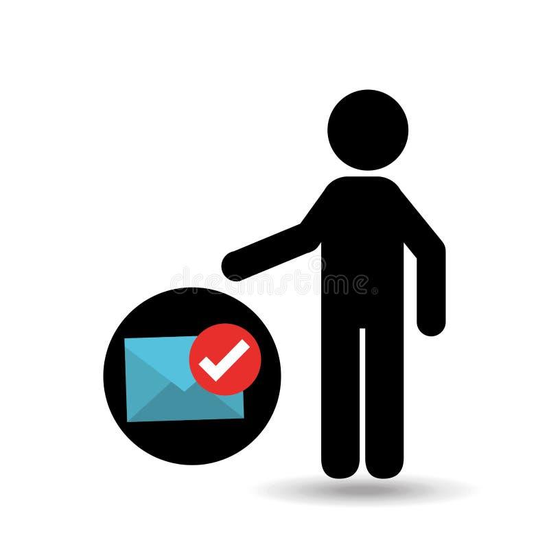 Homme de silhouette avec le coche d'enveloppe d'email illustration libre de droits
