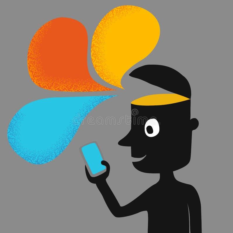 Homme de silhouette avec le téléphone intelligent illustration de vecteur