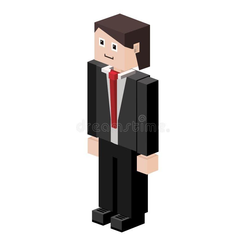 homme de silhouette de lego avec le costume formel illustration stock
