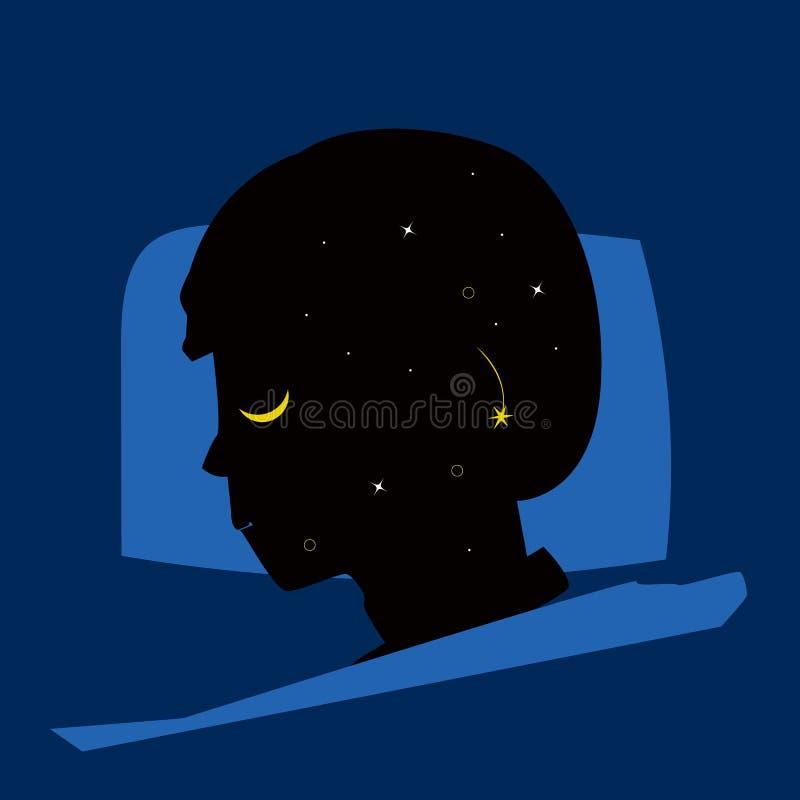 Homme de sommeil avec le rêve de bonne nuit - vecteur illustration de vecteur