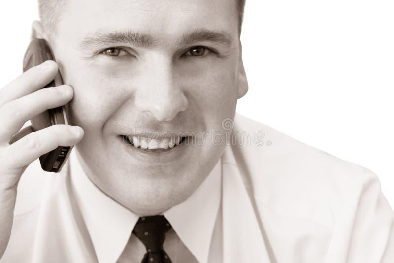 Homme de sourire avec le portable photo libre de droits