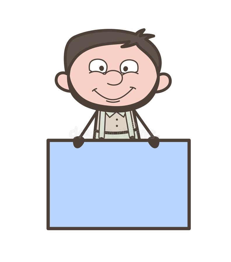 Homme de sourire de bande dessinée avec l'illustration de vecteur de panneau d'annonce illustration de vecteur