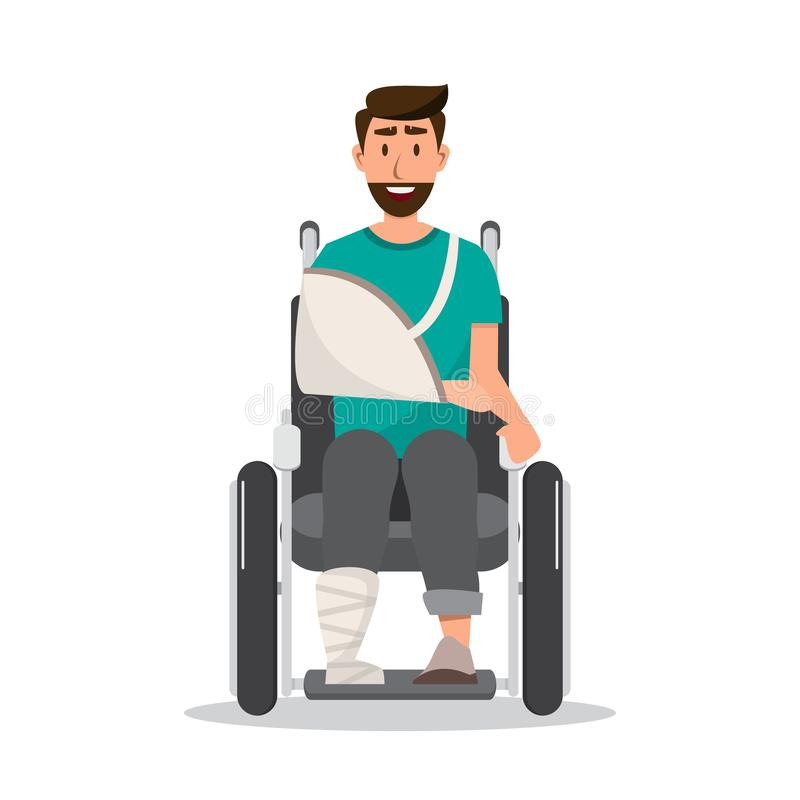 homme de sourire blessé utilisant un bandage sur le fauteuil roulant photos stock