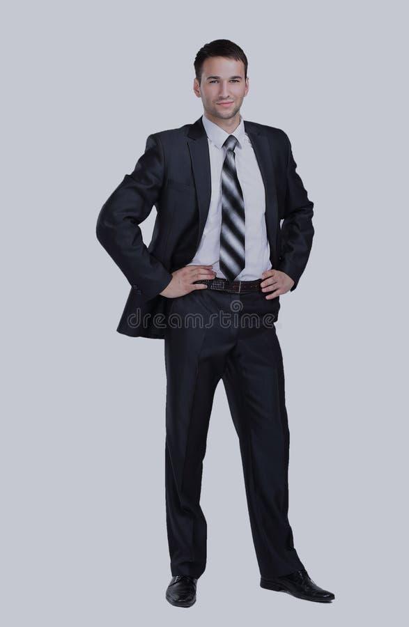 Homme de sourire d'affaires d'isolement sur le blanc image libre de droits