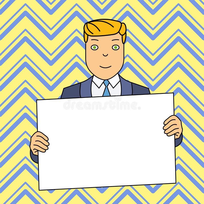 Homme de sourire dans le costume formel tenant le grand panneau vide d'affiche devant lui-m?me avec les deux mains L'espace cr?at illustration de vecteur