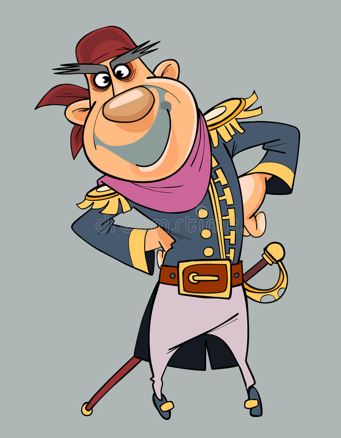 Homme de sourire de bande dessinée dans des vêtements de pirate avec le sabre illustration stock
