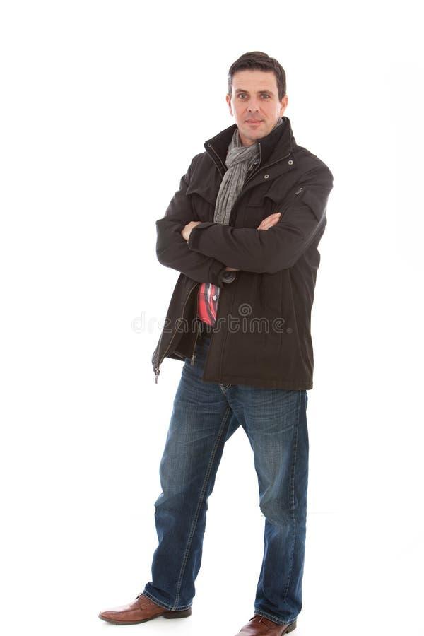 Homme de sourire de mode occasionnelle d'hiver photographie stock libre de droits