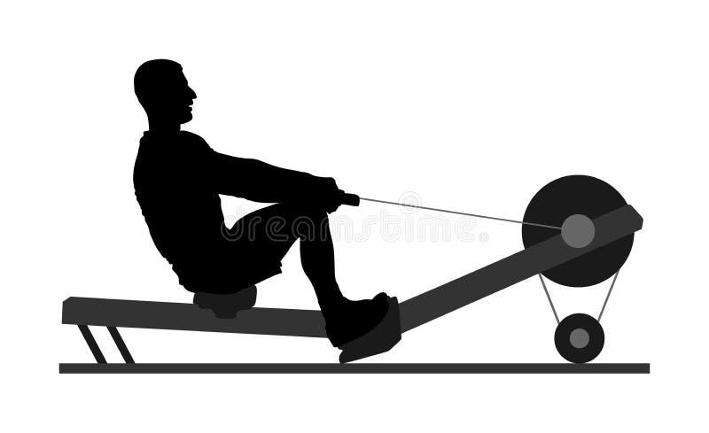 Homme de sport faisant la rangée posée de câble en silhouette de gymnase La basse rangée de poulie de câble a assis Démonstration illustration libre de droits