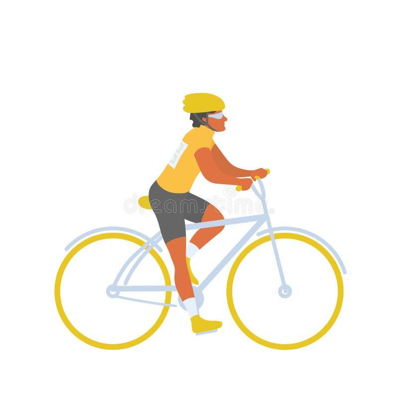 Homme de sports de cavalier de bicyclette sur la concurrence de recyclage illustration stock