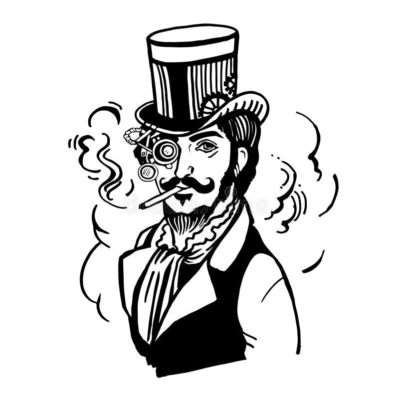 Homme de Steampunk en chapeau supérieur et verres avec la barbe illustration libre de droits