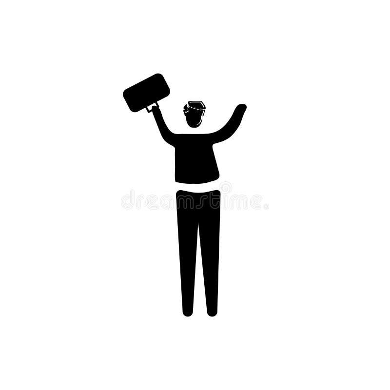 Homme de succès avec le vecteur d'icône de valise d'isolement sur le fond blanc, homme de succès avec le signe de valise, illustr illustration de vecteur