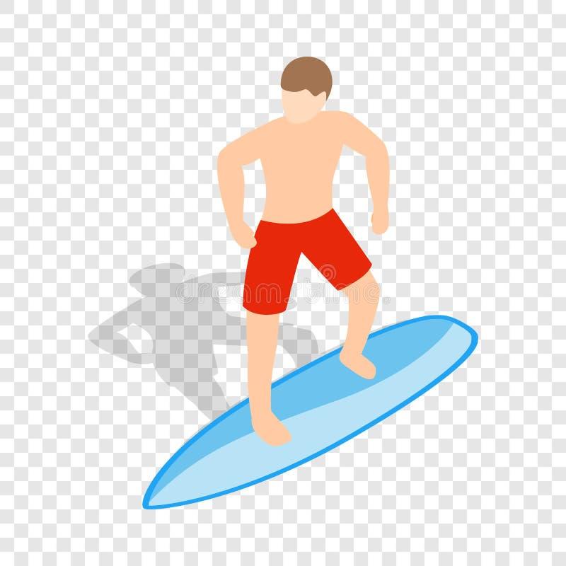 Homme de surfer sur l'icône isométrique de planche de surf illustration stock