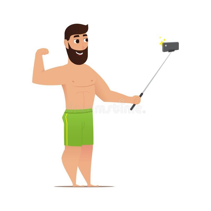 Homme de tir de selfie de bande dessinée illustration stock
