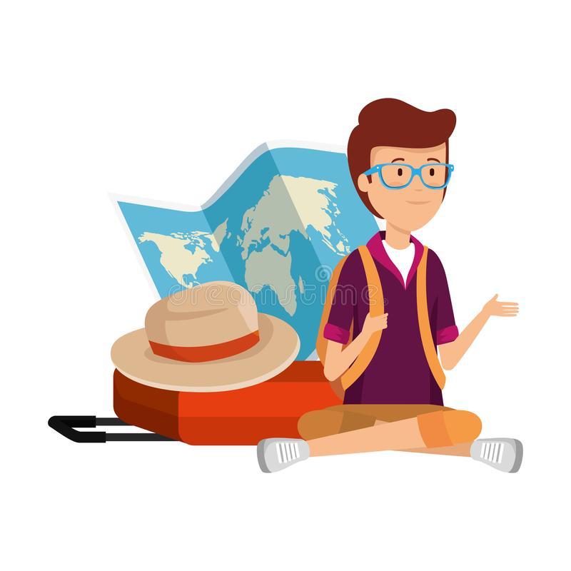 Homme de touristes avec la carte et le chapeau de papier illustration libre de droits