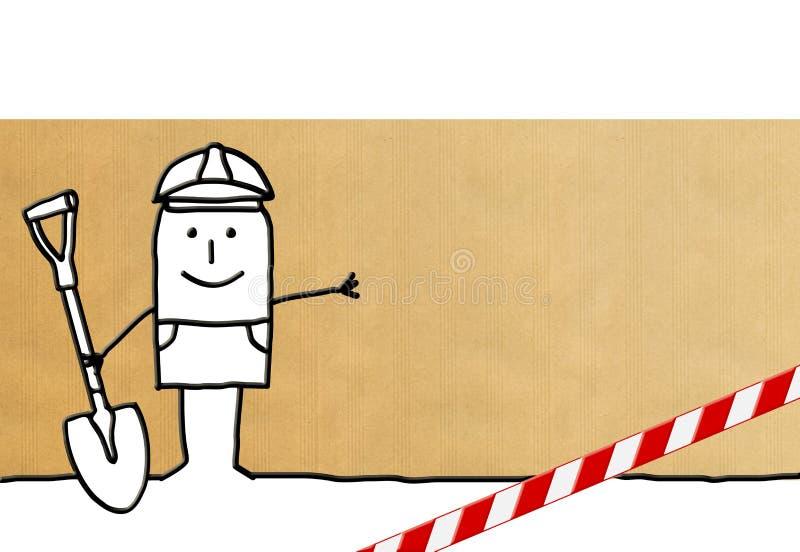 Homme de travailleur de bande dessinée avec le signe de danger illustration stock