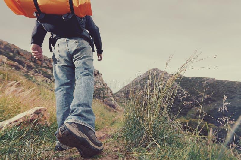 Homme de trekking de montagne photographie stock libre de droits