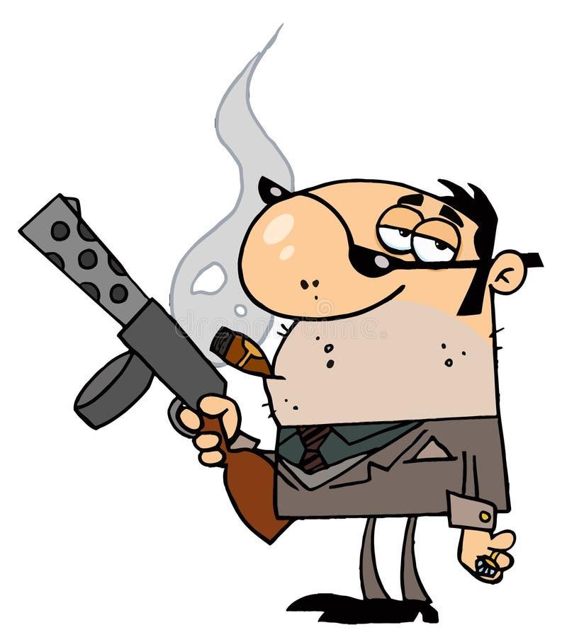 Homme de truand retenant une mitraillette illustration de vecteur