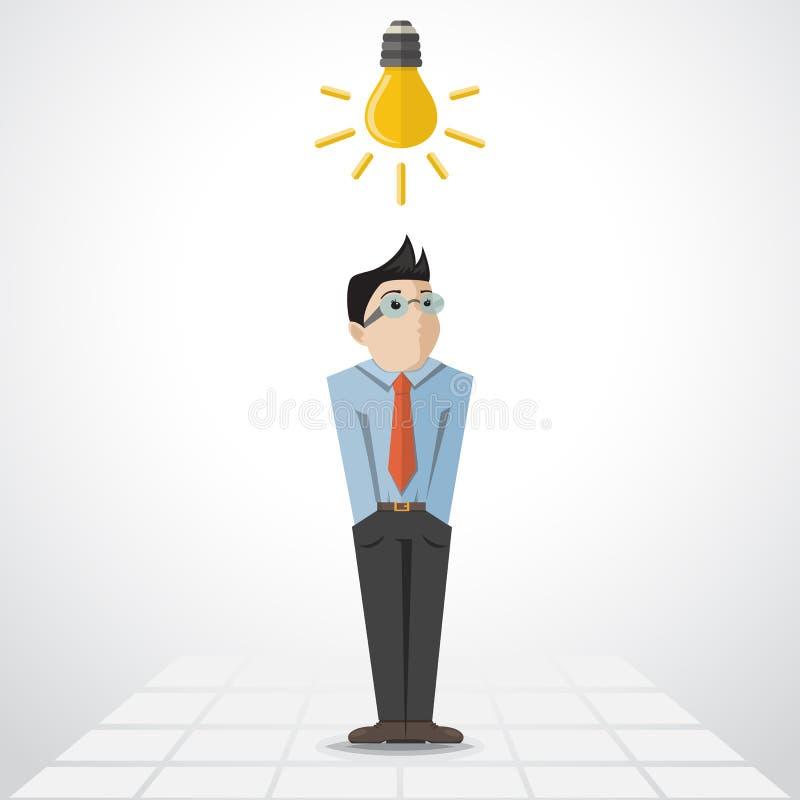 Homme de vecteur avec la lampe illustration stock