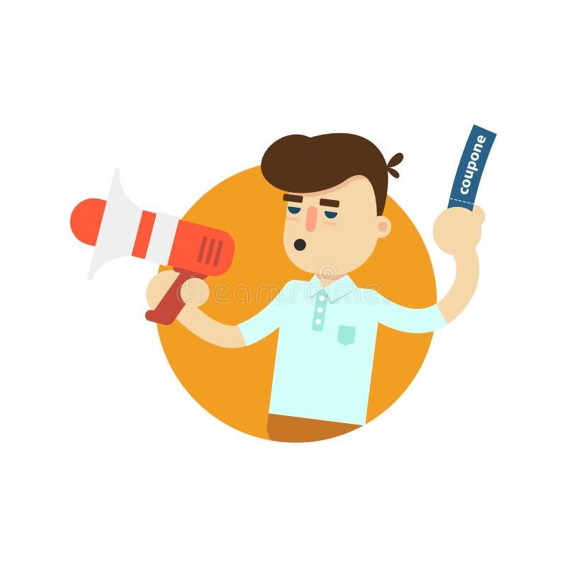 Homme de vendeur avec l'icône de mégaphone illustration de vecteur