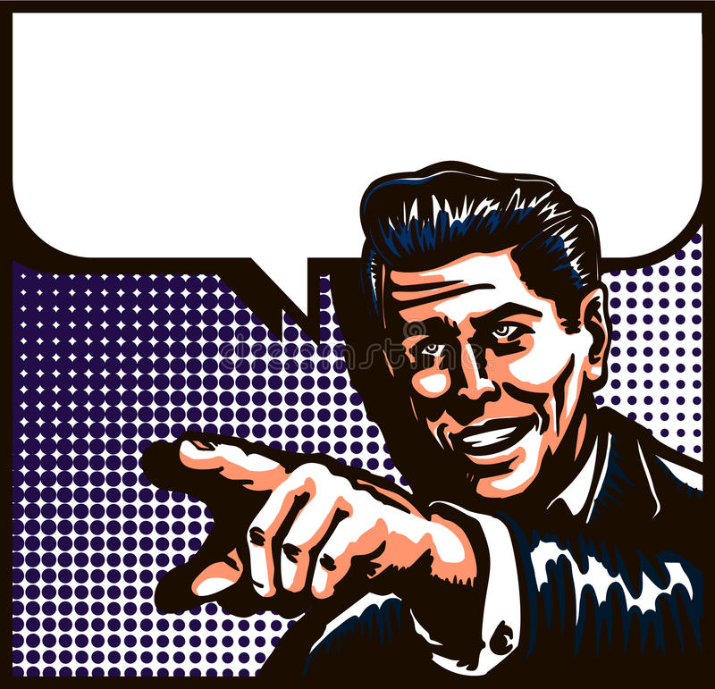 Homme de vintage parlant avec diriger l'illustration d'art de bruit de style de bande dessinée de doigt illustration libre de droits