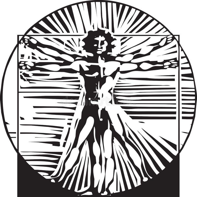 Homme de Vitruvian de gravure sur bois illustration libre de droits