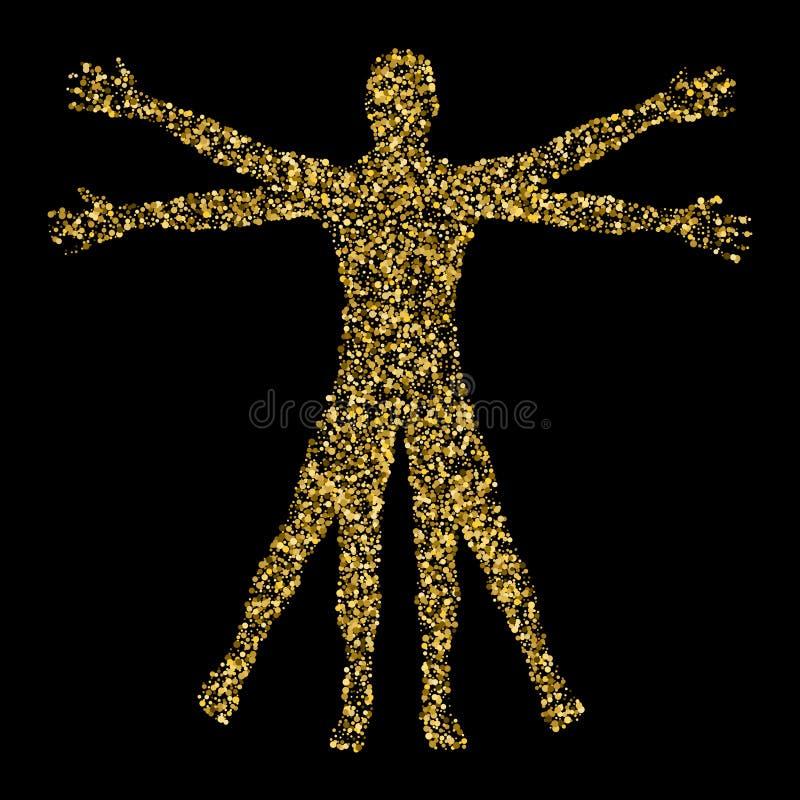 Homme de Vitruvian Le concept des confettis d'or basés sur des croquis par illustration de vecteur