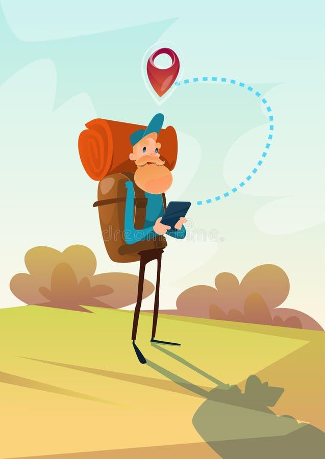 Download Homme De Voyageur Trimardant Utilisant Le Tourisme Extérieur De Trekking De Navigation De Tablette Illustration de Vecteur - Illustration du guide, campagne: 77158670