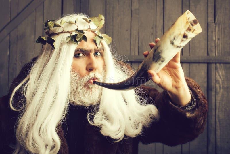Homme de Zeus avec le klaxon image libre de droits
