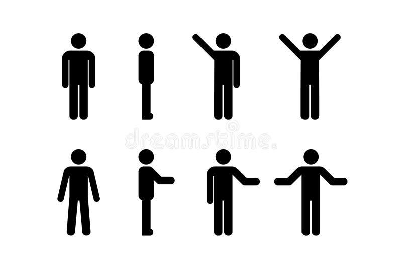 Homme debout, homme debout, homme à silhouette Illustration vectorielle, pictogramme de différents êtres humains illustration libre de droits