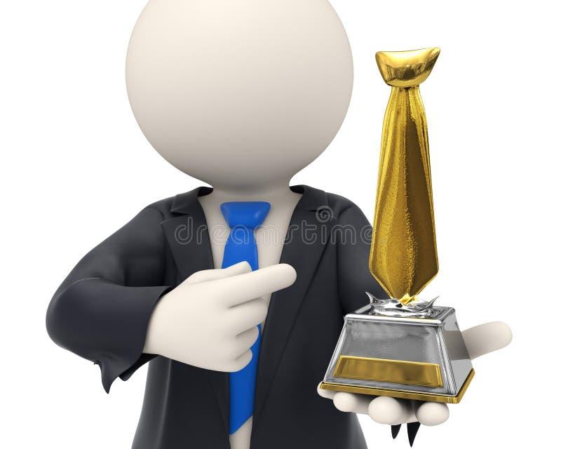 homme des affaires 3d attribué avec le trophée de relation étroite d'or illustration de vecteur